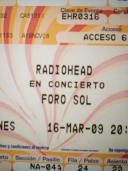Boleto Radiohead