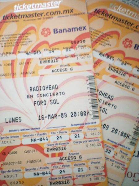 Boletos Radiohead